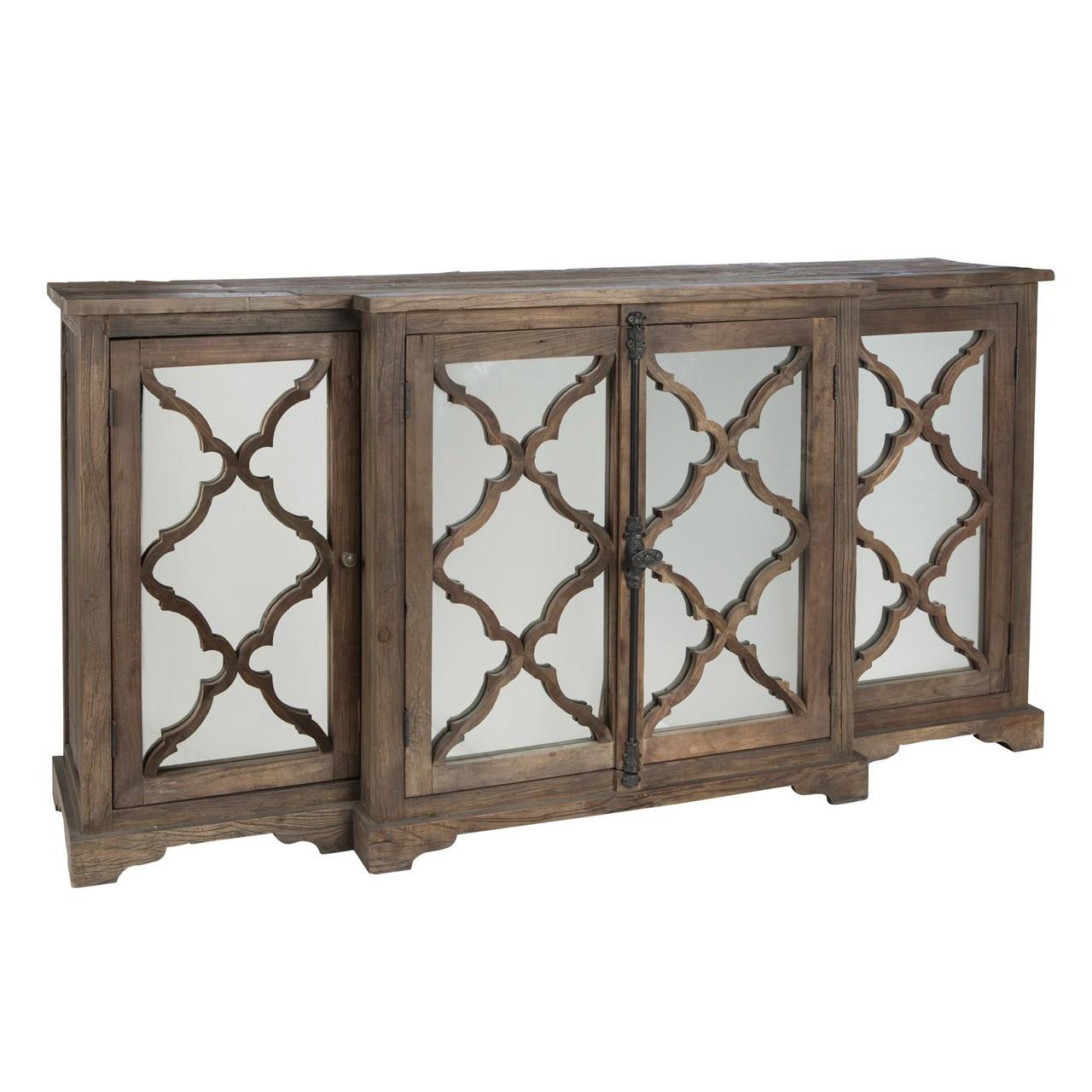 Aidan Gray Furniture Lowery Buffet Sideboard with 4 Glass Paneled Door - Lowery Buffet Sideboard With 4 Glass Paneled Door Zin Home