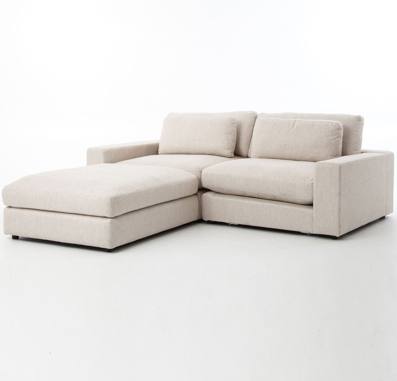Contemporary Sectional: Bloor Beige Contemporary 3 Piece Small Sectional Sofa