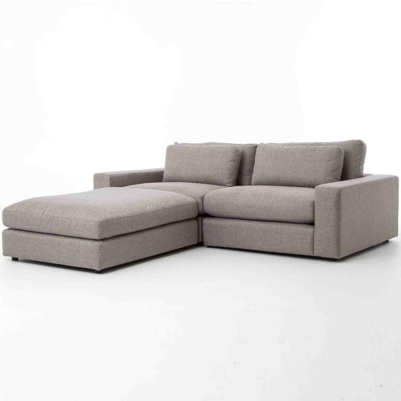 Bloor gray contemporary 3 piece small sectional sofa zin for 3 piece small sectional sofa
