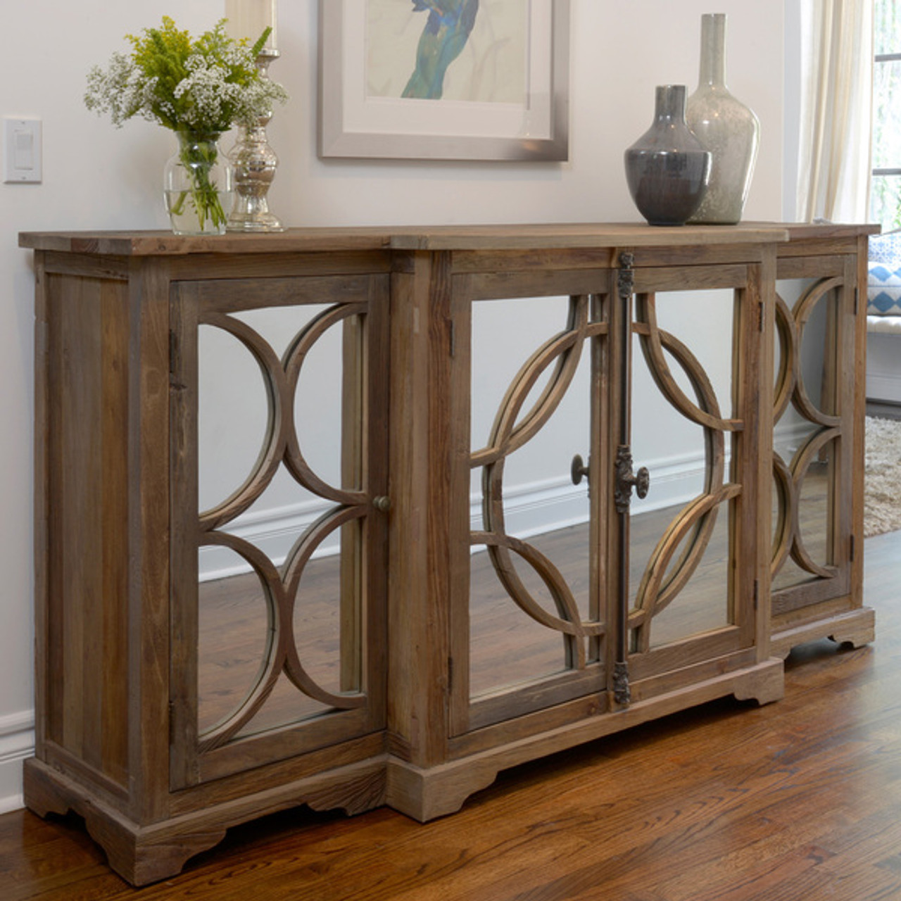 Wells Reclaimed Elm Wood Mirrored Sideboard - Wells Reclaimed Elm Wood Mirrored Sideboard Buffet Zin Home