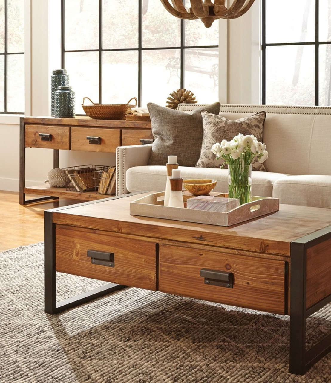 Coffee Table With Drawers: Rustic Industrial Coffee Table With Drawers