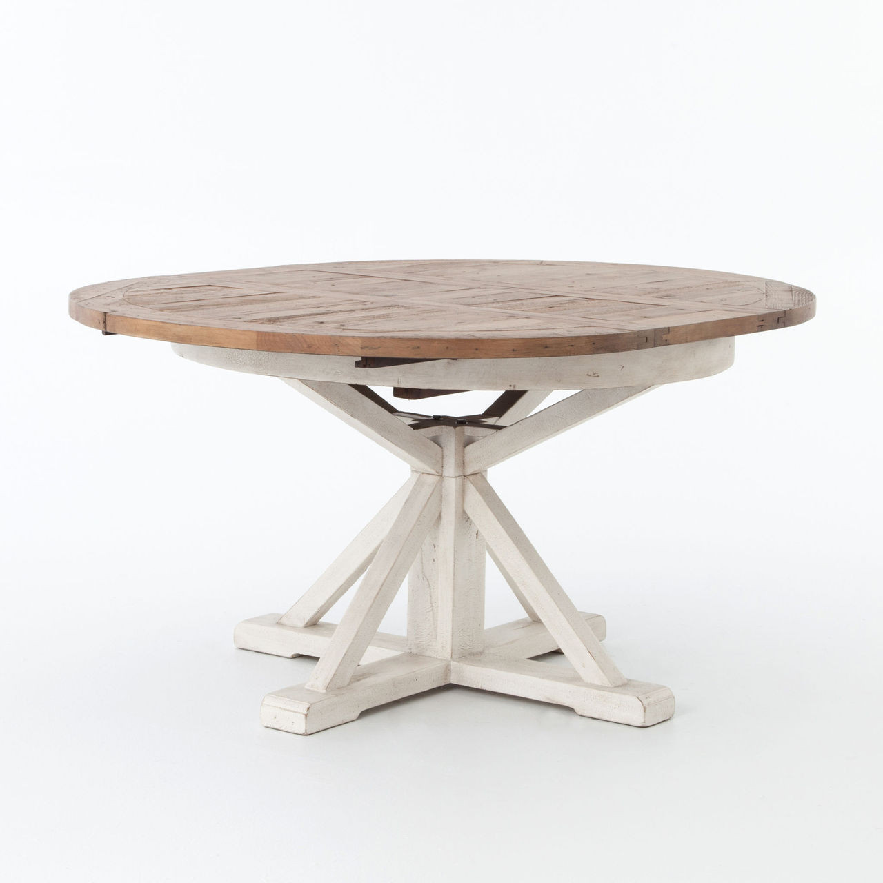 """Cintra White Expandable Round Dining Table 63"""""""