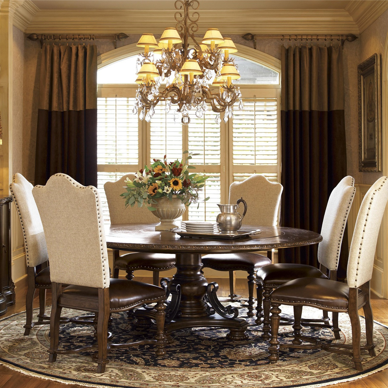 Dining Room Table Pedestal: Seville Marquetry Expandable Round Pedestal Dining Table