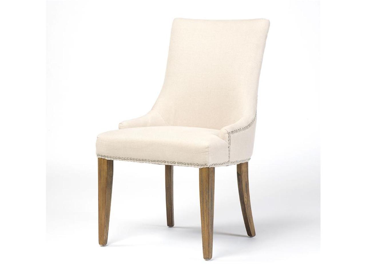 Ashford linen upholstered nailhead dining chair zin home for Upholstered linen dining chairs