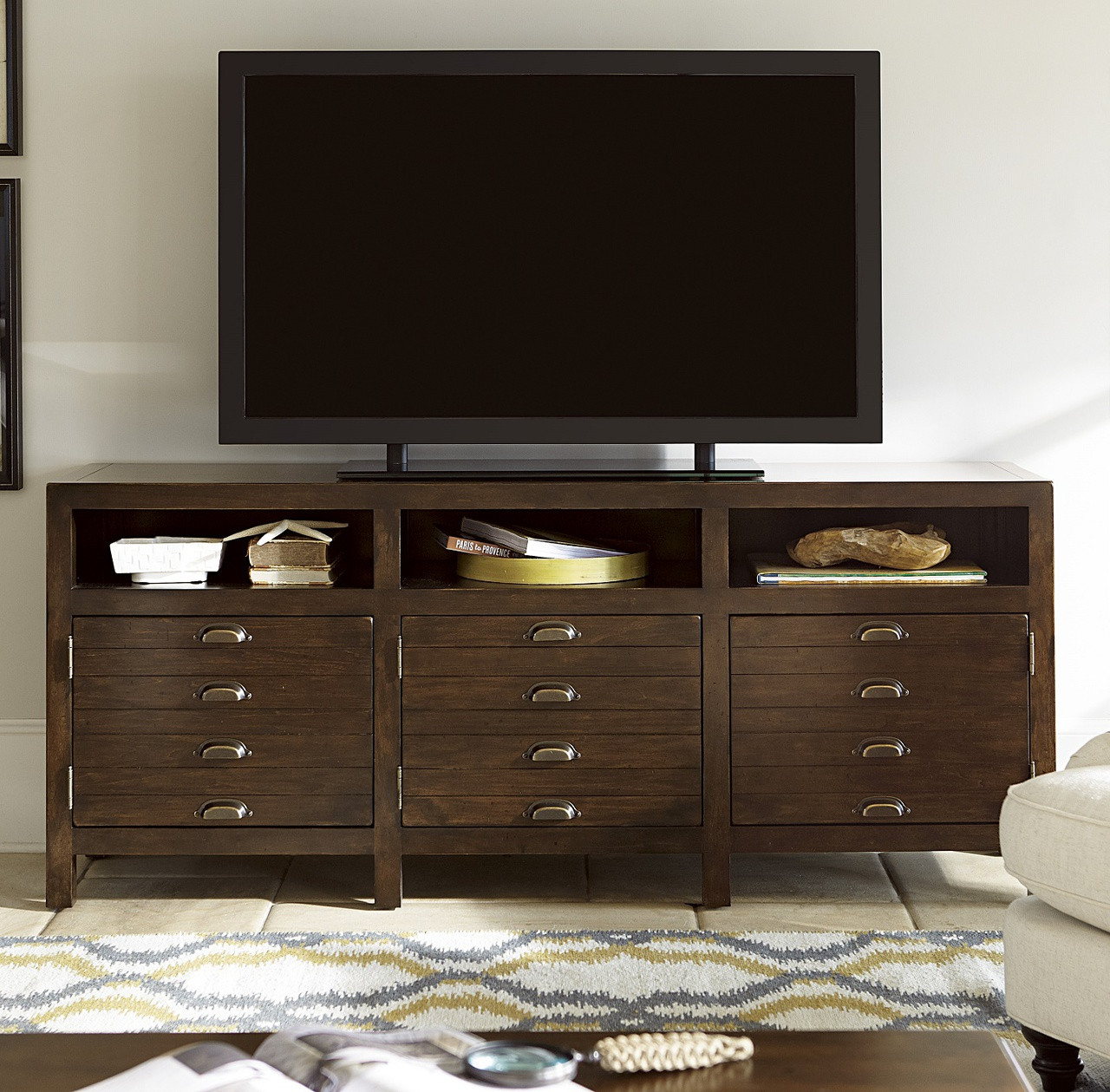 Media Tables: Sonoma Vintage Brown Media Console With Doors