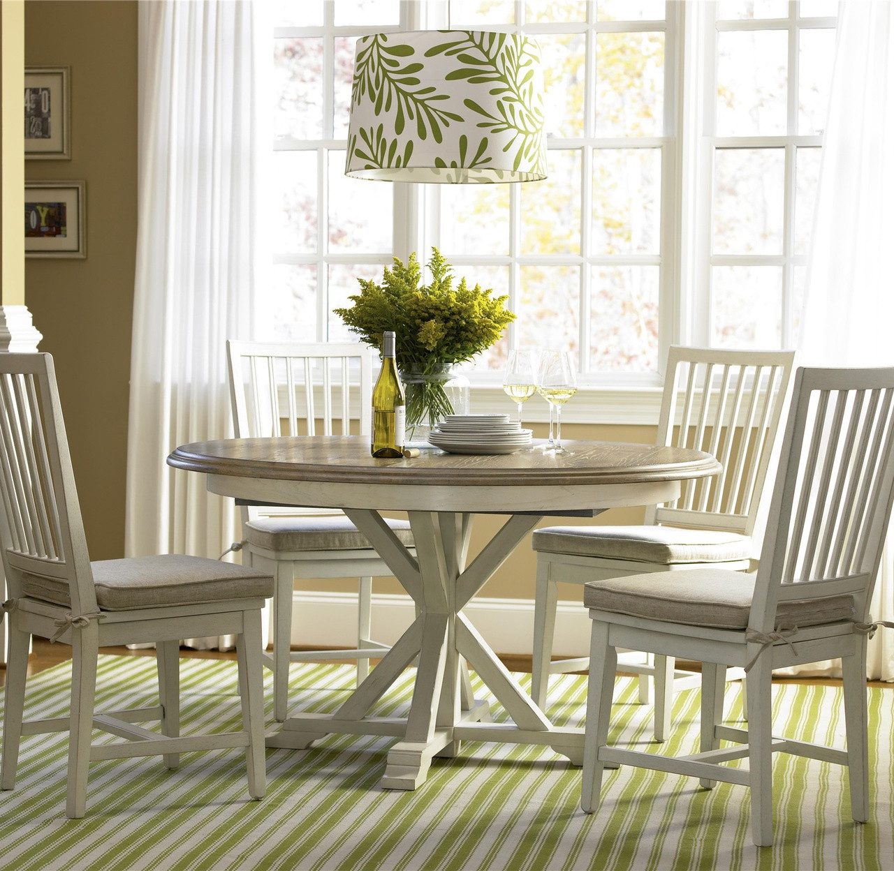 Charming Coastal Beach White Oak Round Dining Room Set
