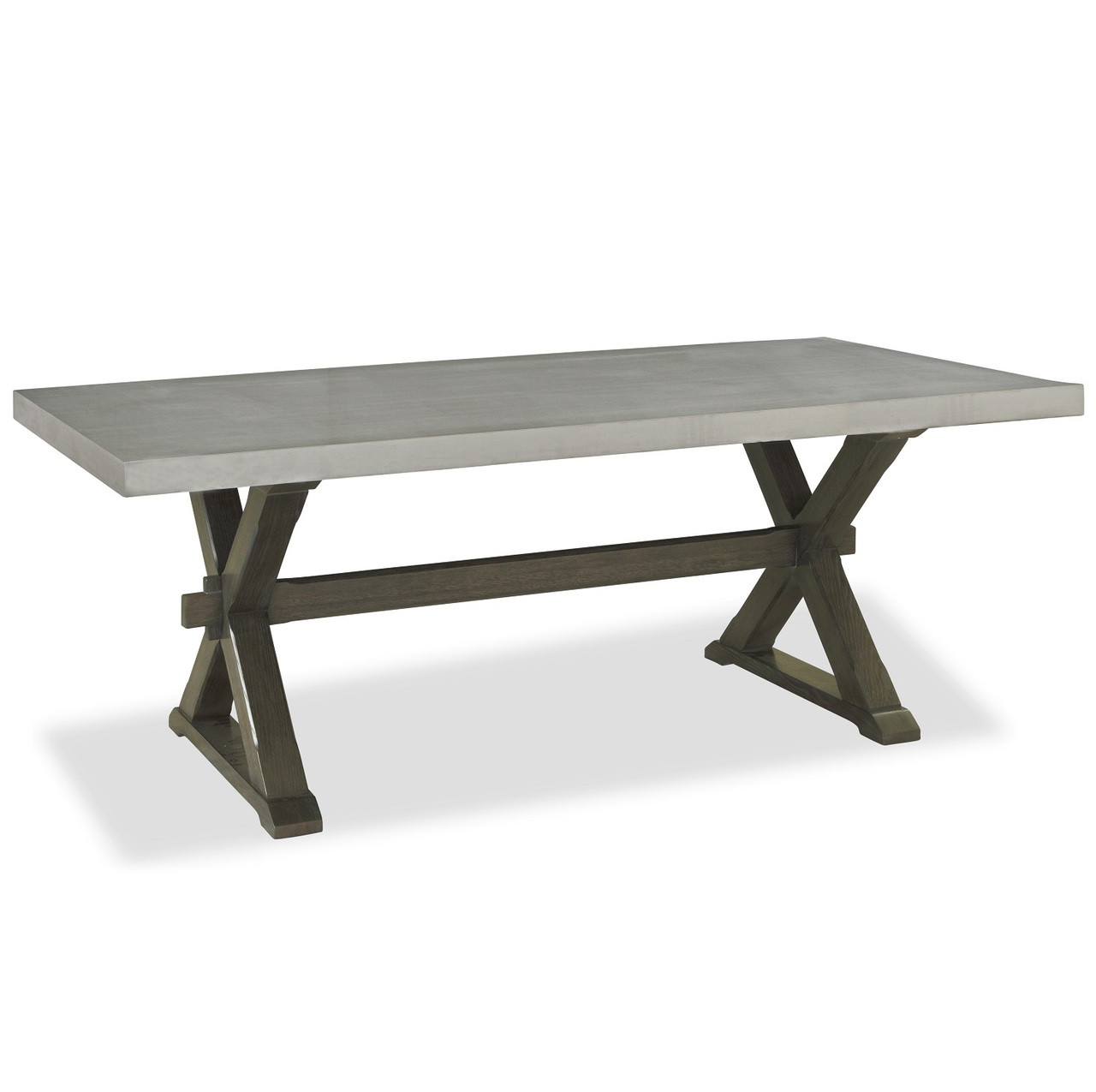 Flatiron oak wood stainless steel x base dining table for Dining table base