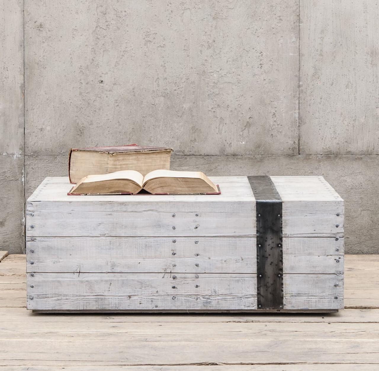 Scaffolding White Washed Reclaimed Wood Block Coffee Table