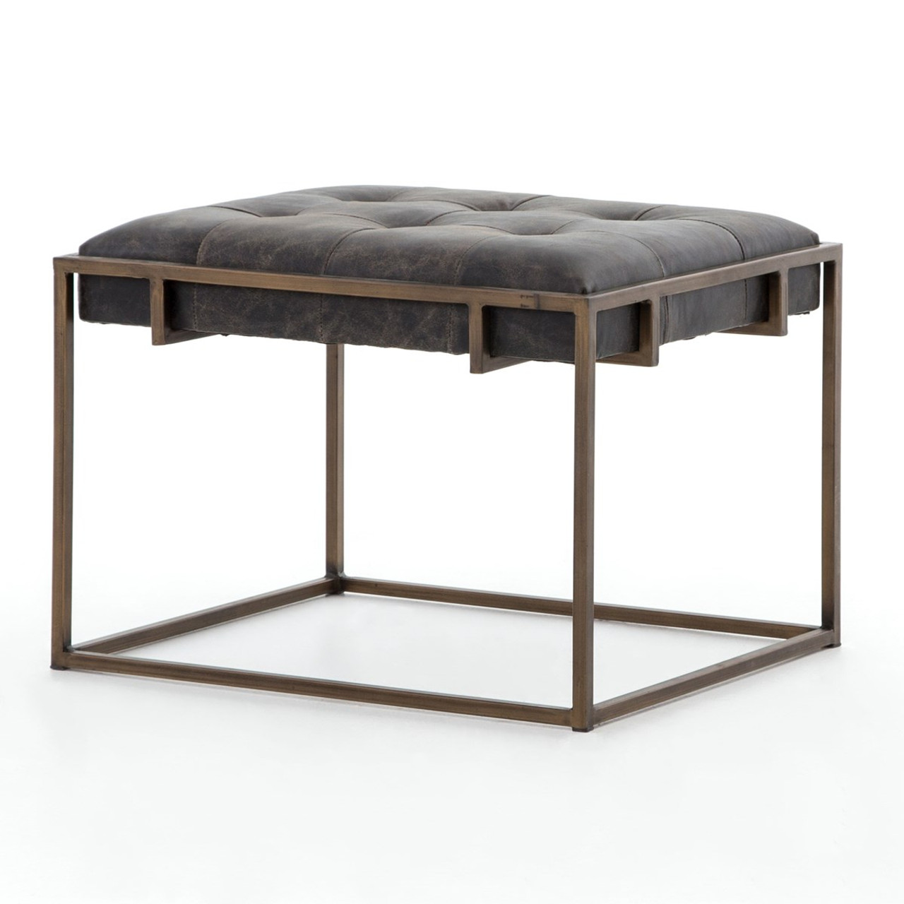 Oxford Tufted Black Leather Ottoman End Table
