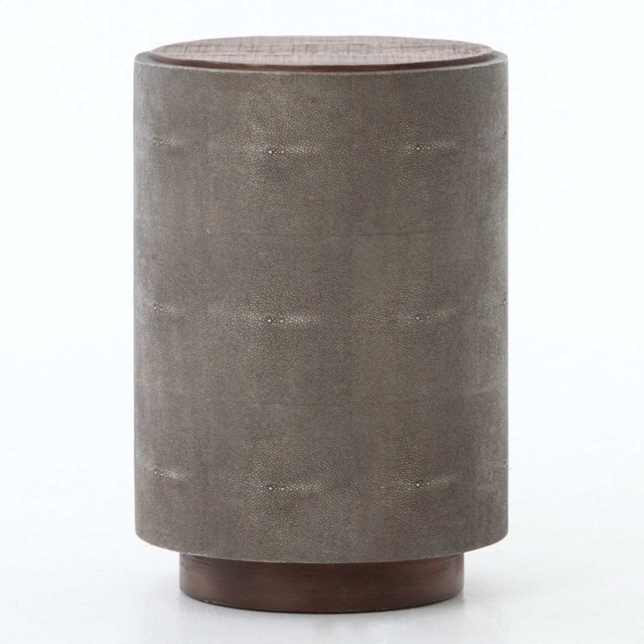 Crosby Reclaimed Wood Round Shagreen Side Table
