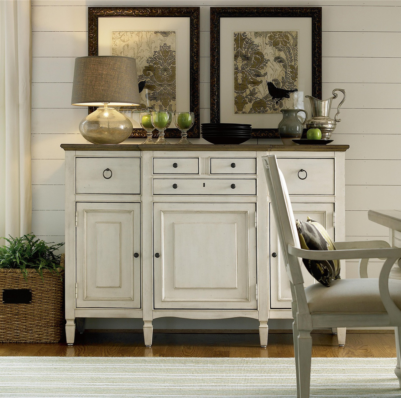 countrychic maple wood white buffet server cabinet