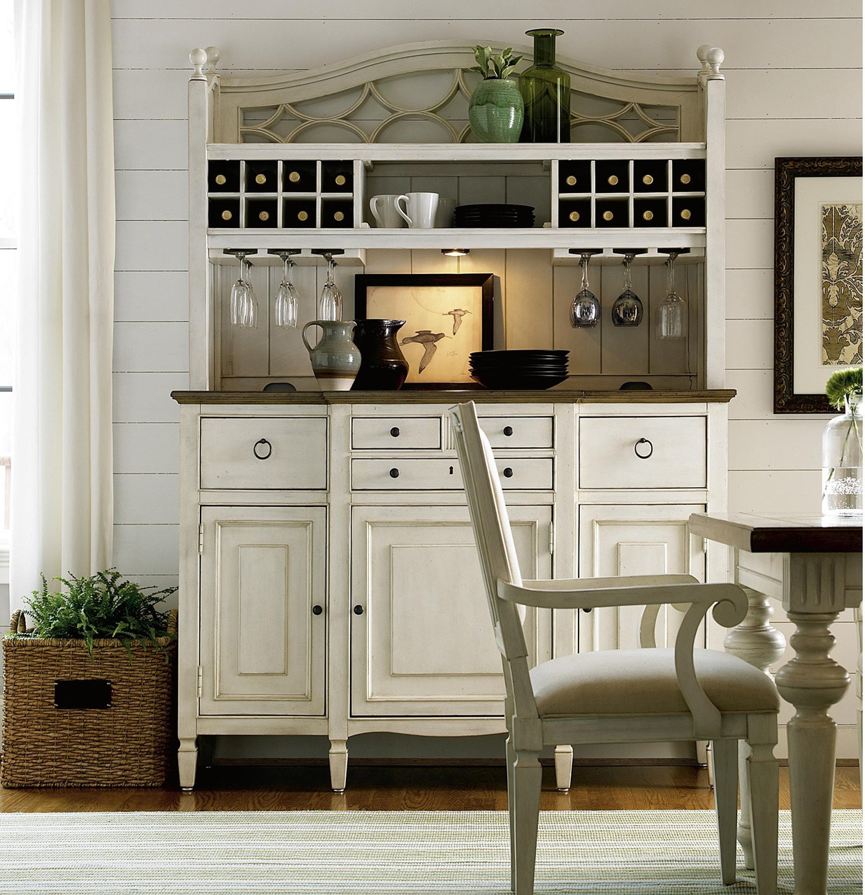 Country-Chic Maple Wood White Kitchen Buffet With Bar