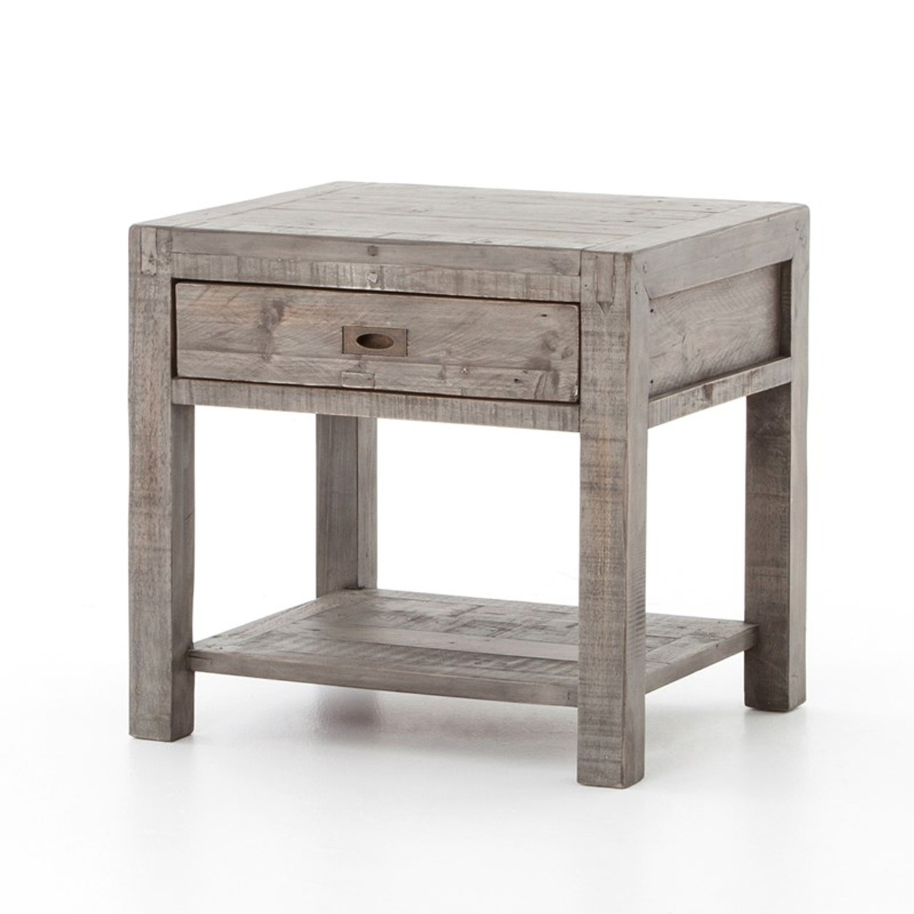 Reclaimed Wood End Tables ~ Parsons reclaimed wood drawer end table grey zin home