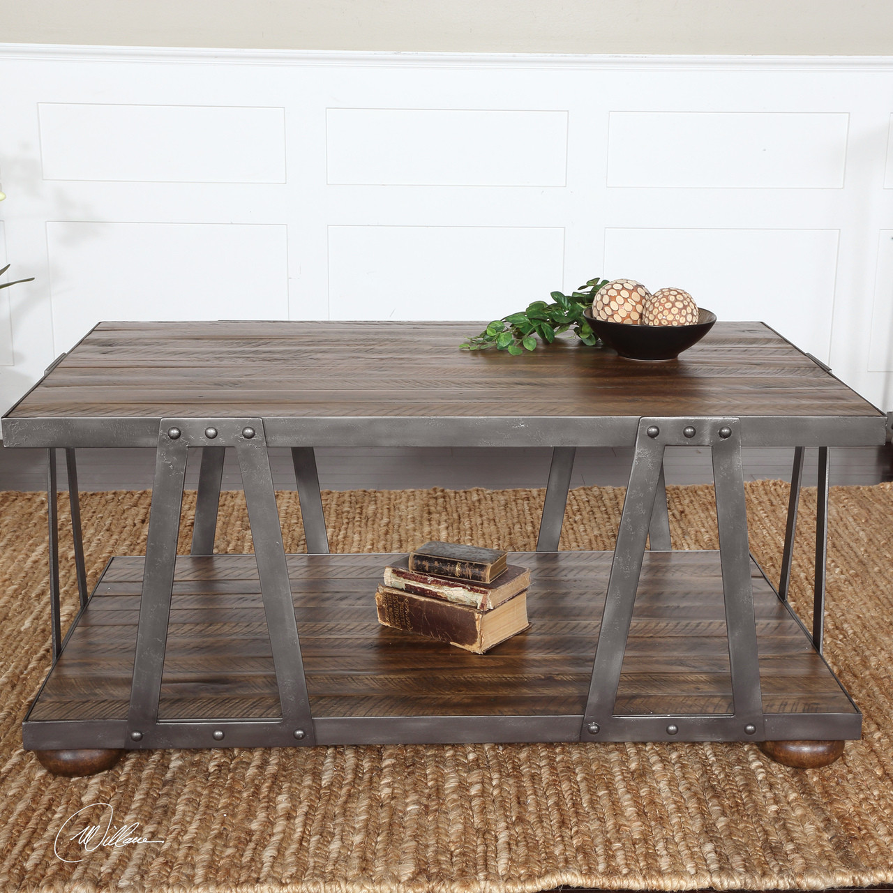 Wood And Metal Uriah Adjustable Accent Table: Stella Industrial Wood And Metal Coffee Table