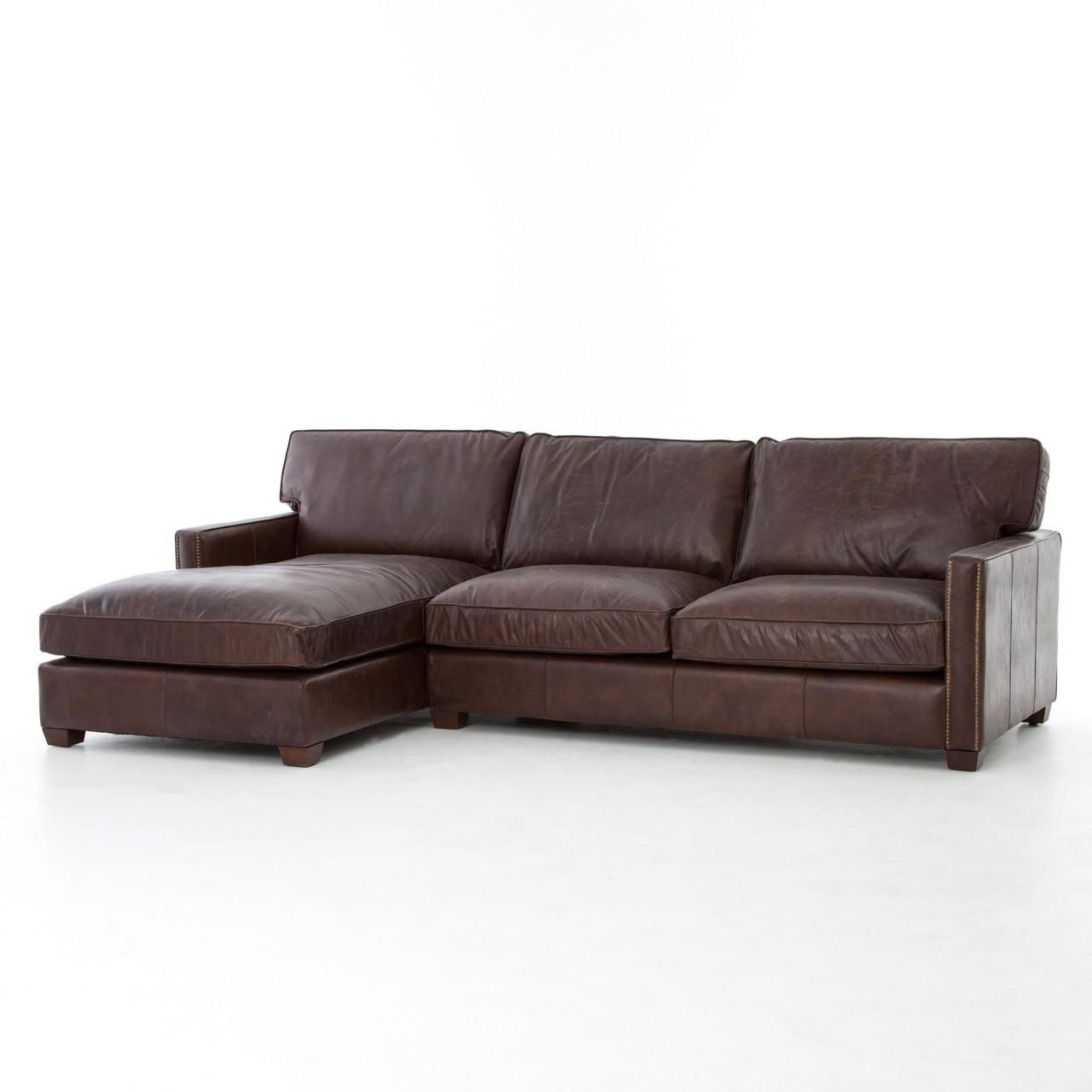 Larkin Vintage Cigar Leather Sectional Sofa with Chaise  sc 1 st  Zin Home : leather sectional sofa with chaise - Sectionals, Sofas & Couches