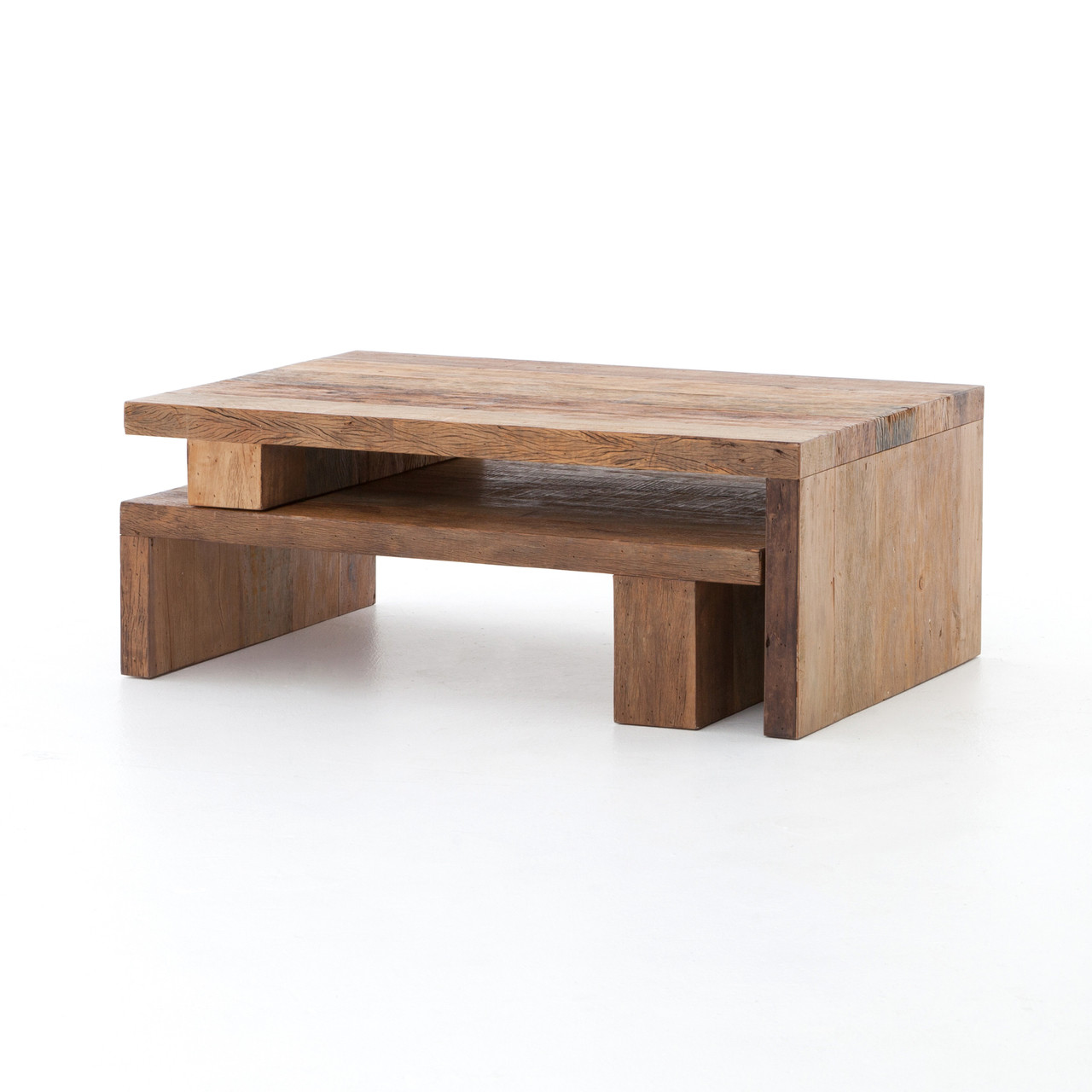 Ferris reclaimed wood modular nesting coffee table zin home for Reclaimed coffee table