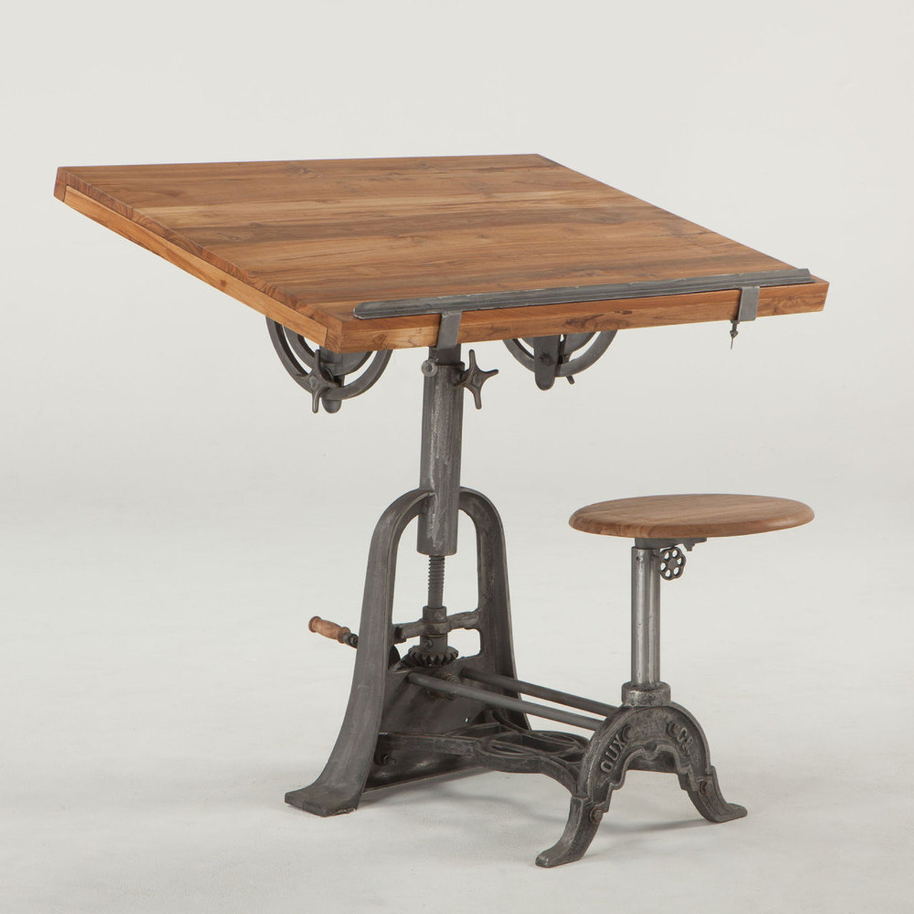 Wonderful French Vintage Industrial Architect Drafting Table With Attached Seat