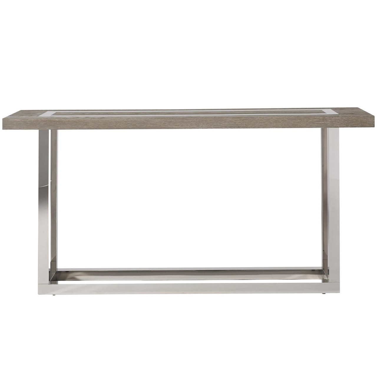 Wyatt modern oak wood stainless steel console table 60 for Contemporary wood console tables