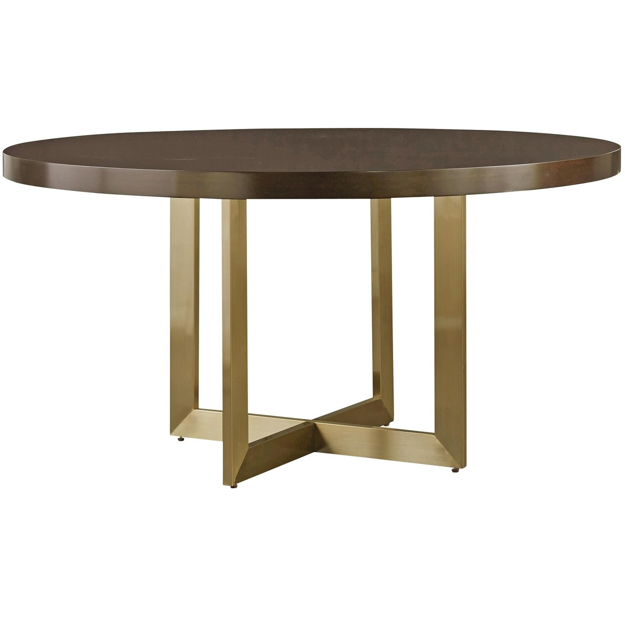 gibson modern brushed gold round wood dining table 54 zin home. Black Bedroom Furniture Sets. Home Design Ideas