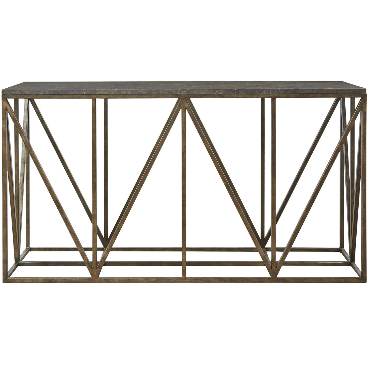Bronze Industrial Coffee Table: French Industrial Bronze Metal Bluestone Console Table 68