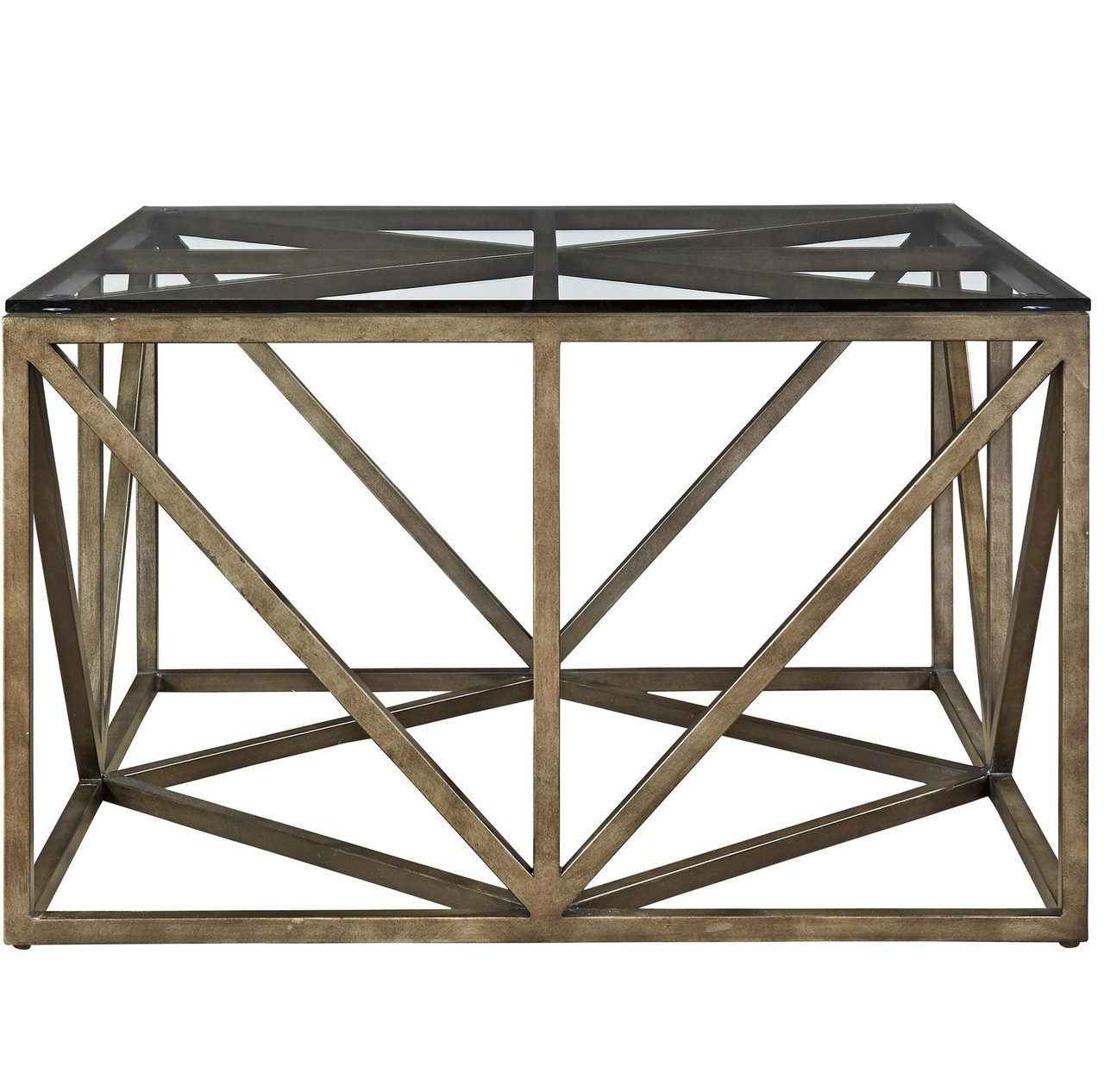 40 Metal Square Coffee Tables: French Industrial Bronze Metal & Glass Top Square Coffee