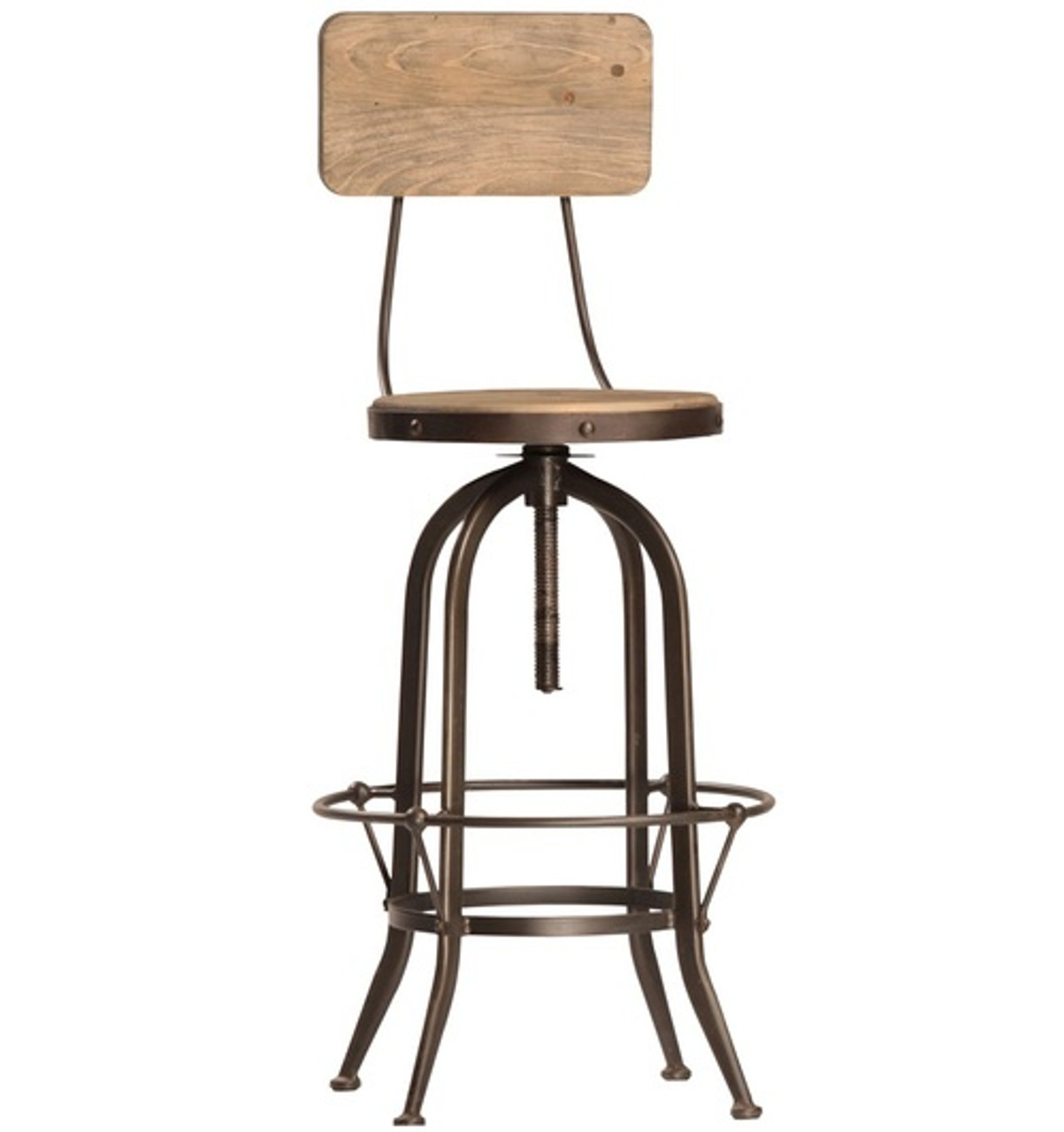Industrial Wood Adjustable Seat Barstool High Chair: Industrial Gear Bar Stool