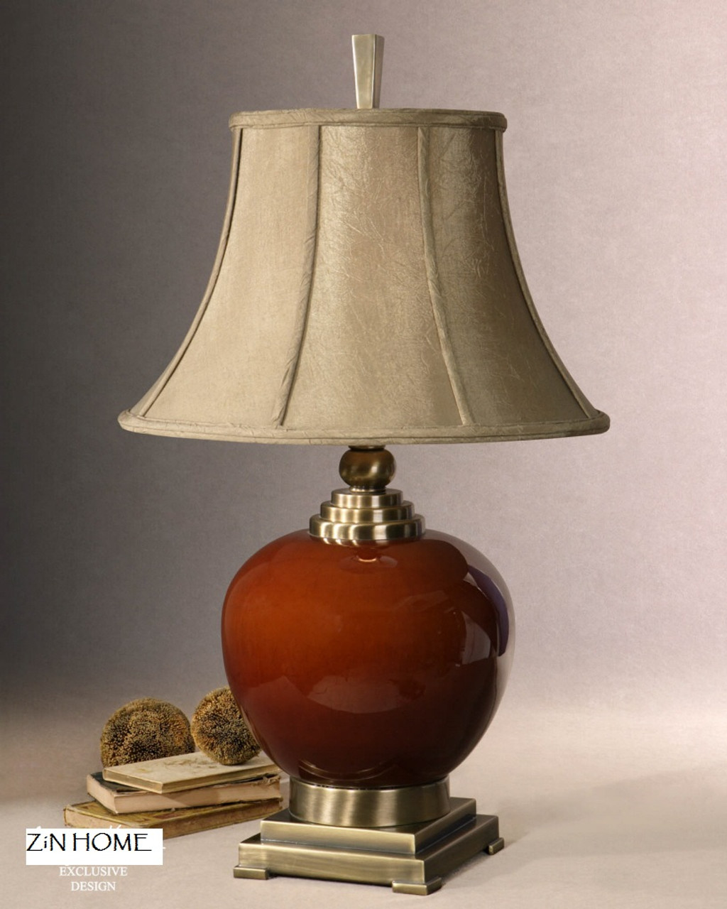 Daviel Red Ceramic Table Lamp Zin Home