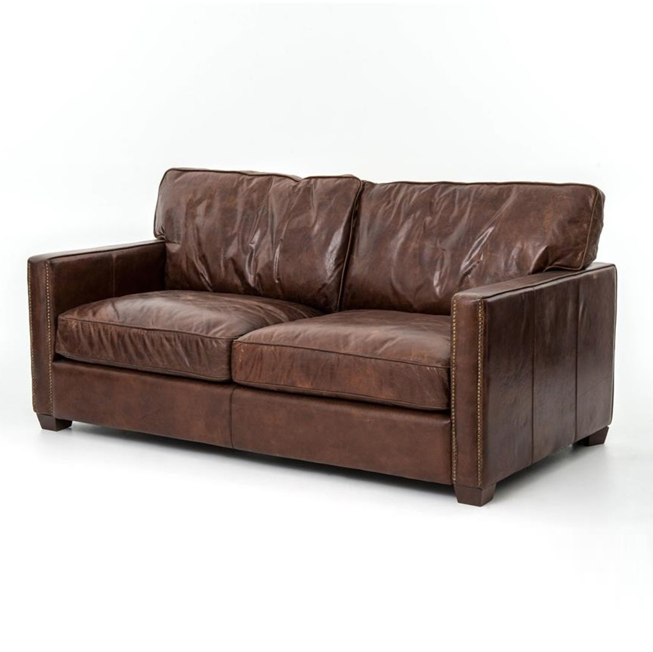 Larkin 2 Seater Vintage Cigar Distressed Leather Sofa Zin Home