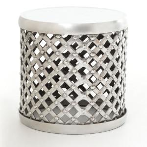 Marlow Aluminum Drum Stool Side Table