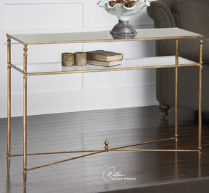 Henzler Mirrored Gold Leaf Console Table