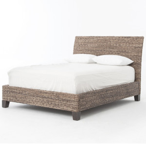 Banana Leaf Woven King Platform Bed - Gray