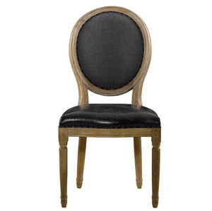 Louis Dining Side Chair in Black Leather