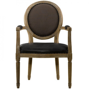 Louis Vintage Leather Dining Arm Chair