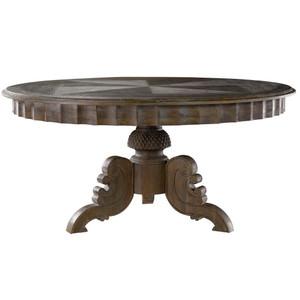 "Parisian Gray Oak Round Pedestal Dining Table 63"""