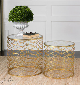 Zoa Bright Gold Leaf Glass Top Round Side Tables