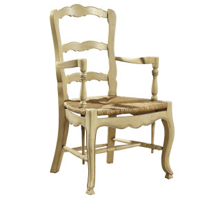 French Country Mahogany Ladderback Arm Chair