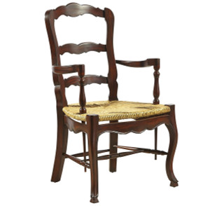 French Country Mahogany Ladderback Brown Arm Chair