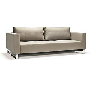 Cassius Q Deluxe Tan Leather Sleeper Sofa Chrome