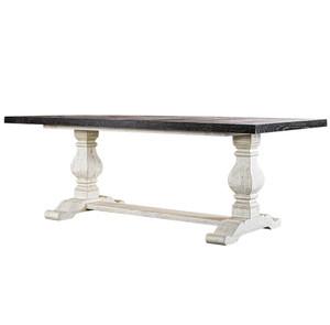 "Kingdom Antique Black + White Trestle Dining Table 84"""