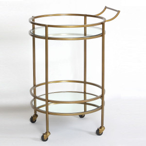 Petite Antique Brass and Glass Bar Cart Side Table
