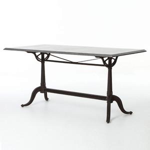 Parisian Industrial Cast Iron + Bluestone Bistro Dining Table
