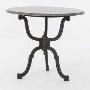 French Industrial Iron + Bluestone Bistro Round Pedestal Table