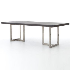 "Masonry Chrome and Black Concrete Dining Table 84"""