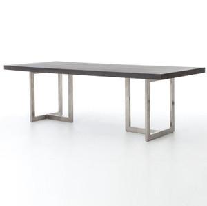 "Masonry Chrome and Black Concrete Dining Table 94"""