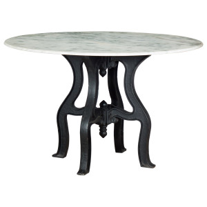 French Industrial White Marble Top Round Dining Table