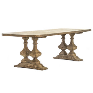 Malena Natural Wood Double Trestle Dining Table