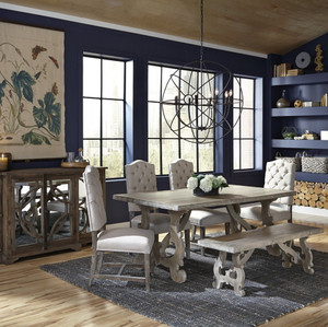 French Farmhouse Grey Dining Table