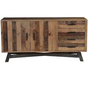 Farmhouse Rustic Reclaimed Wood Sideboard Buffet