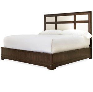 California Rustic Oak King Upholstered Panel Bed