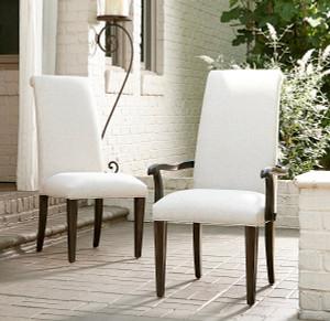 California Rustic Oak Parson Dining Arm Chair
